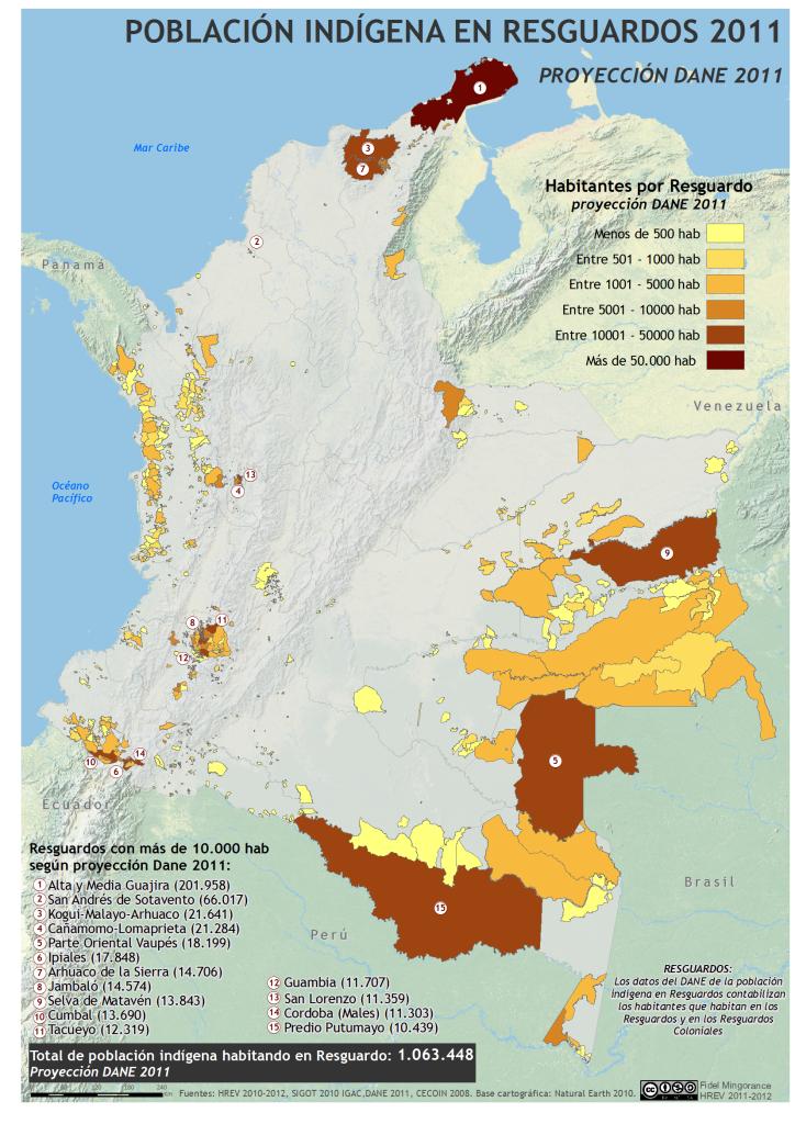 mapa de población indígena en Resguardos en Colombia en 2011