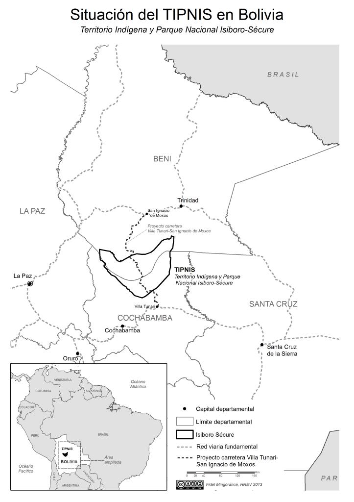 Mapa de Situación del TIPNIS en Bolivia