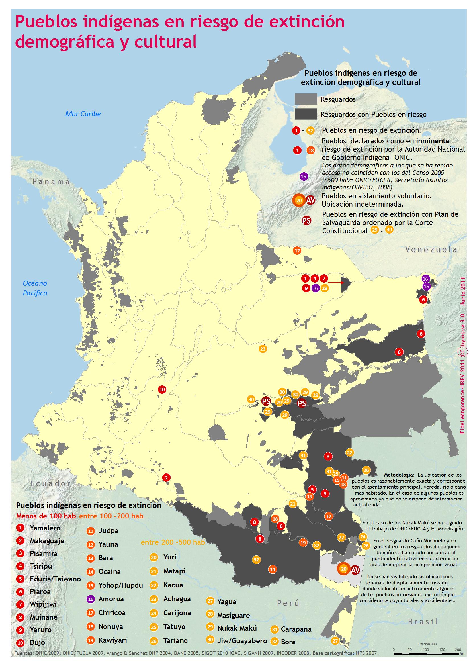 Territorios indígenas en Colombia Actualización mapas geoactivismo