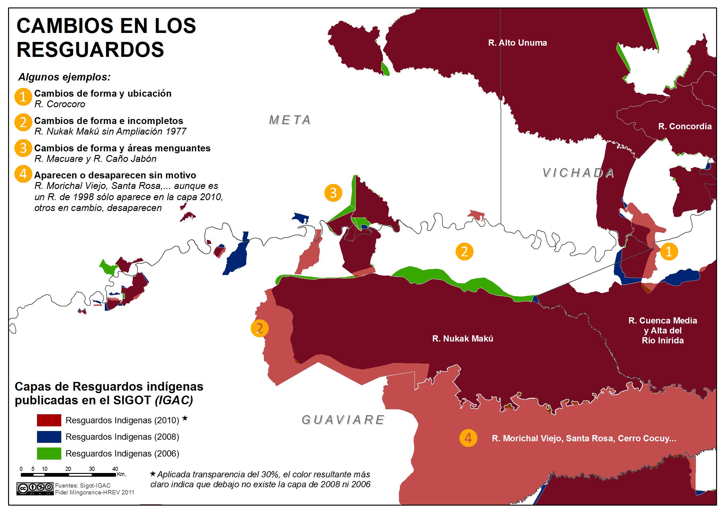 cambios de forma y de ubicación en los resguardos indígenas en Colombia