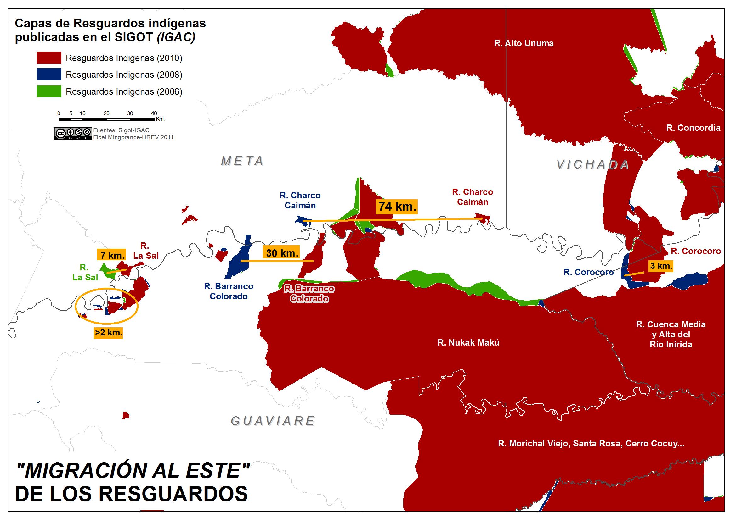 migración al este de los resguardos indígenas en Colombia