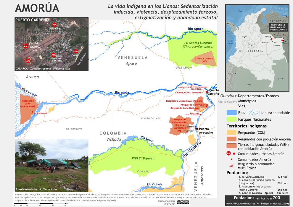 Mapa de localización del pueblo Amorúa en Colombia y Venezuela