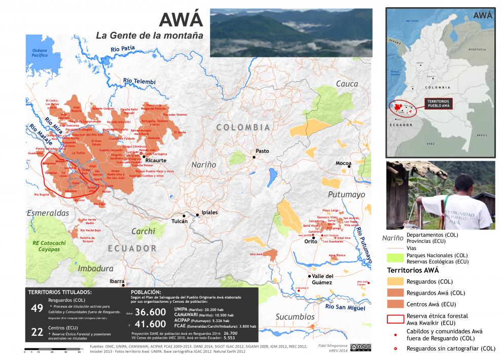 Mapa de localización del pueblo Awá en Colombia y Ecuador