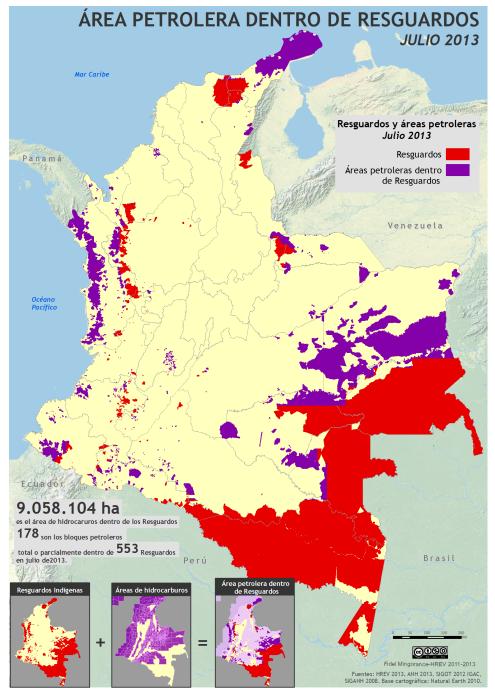 mapa del área petrolera dentro de resguardos en Colombia, julio de 2013