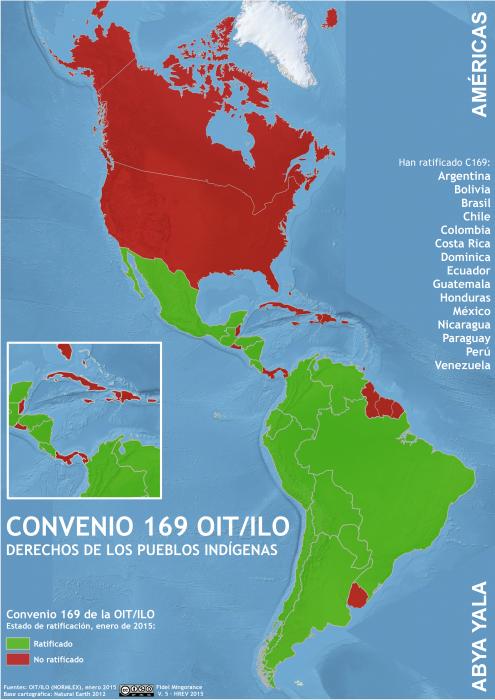 mapa del estado de ratificación del convenio 169 OITen Abya Yala en enero 2015