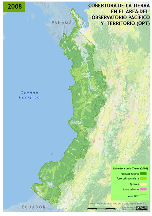 mapa de la 05.Cobertura de la tierra en el Pacífico colombiano en 2008
