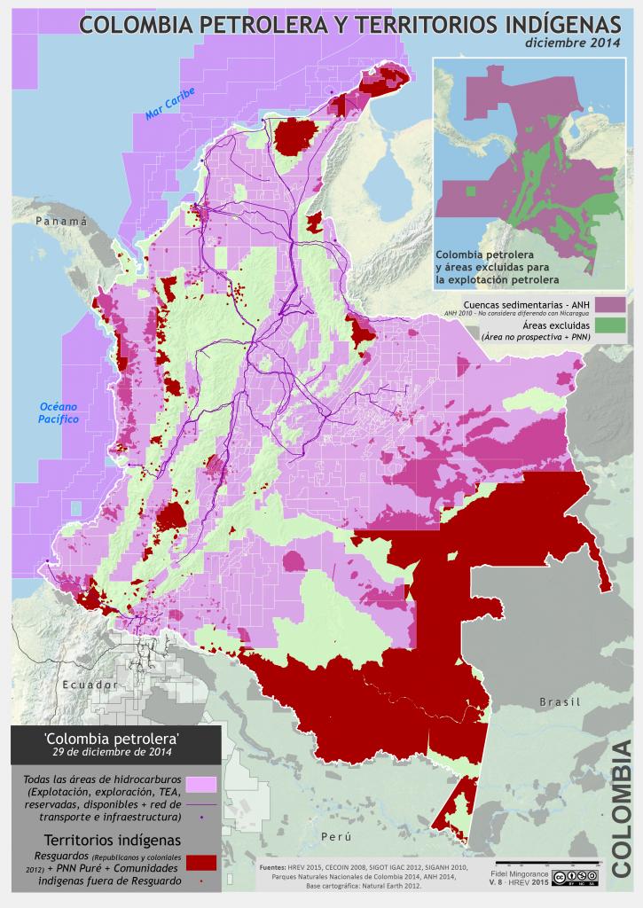mapa de la Colombia petrolera y territorios Indígenas en diciembre 2014