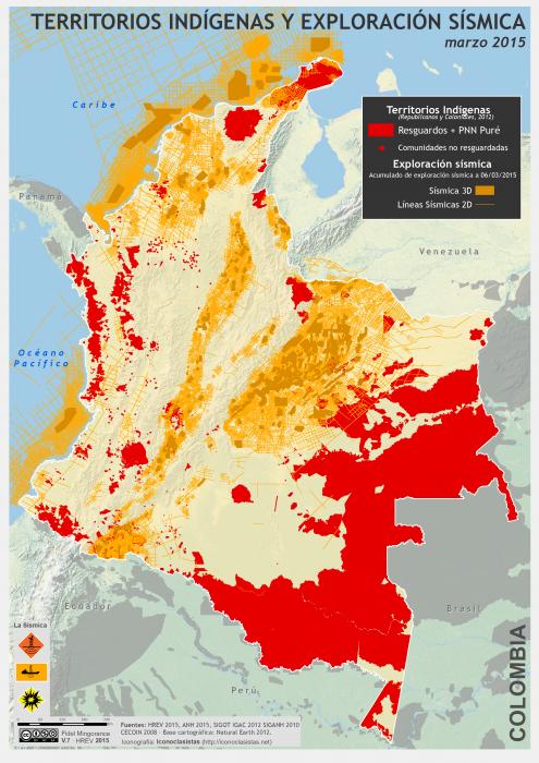 mapa de los Territorios Indígenas y exploración sísmica en Colombia en marzoo 2015