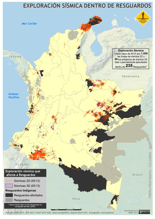 mapa de la Exploración sísmica dentro de Resguardos en Colombia, mayo 2013