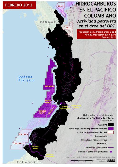 mapa de Hidrocarburos en el Pacífico colombiano, febrero 2012