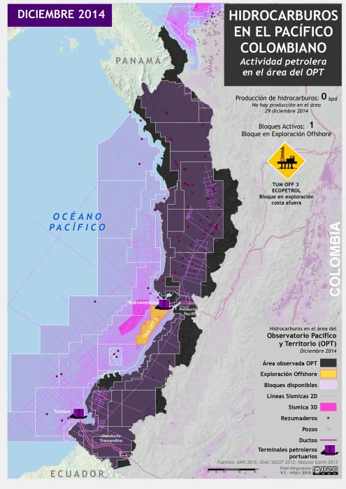 Mapa de Hidrocarburos en el Pacífico colombiano en diciembre de 2014