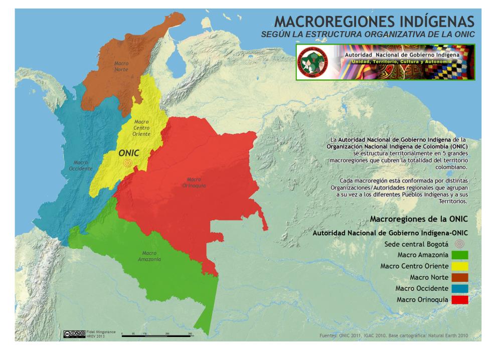 mapa de las macrorregiones indígenas en Colombia según la estructura organizativa de la ONIC