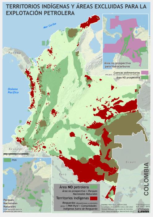 mapa de los territorios indígenas en áreas NO petroleras en enero 2015