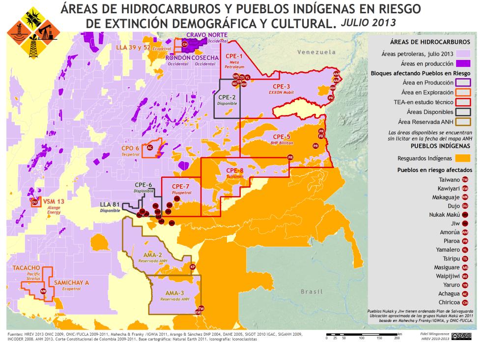 Mapa de las Áreas de hidrocarburos y Pueblos Indígenas en riesgo de extinción demográfica y cultural en Colombia en julio 2013