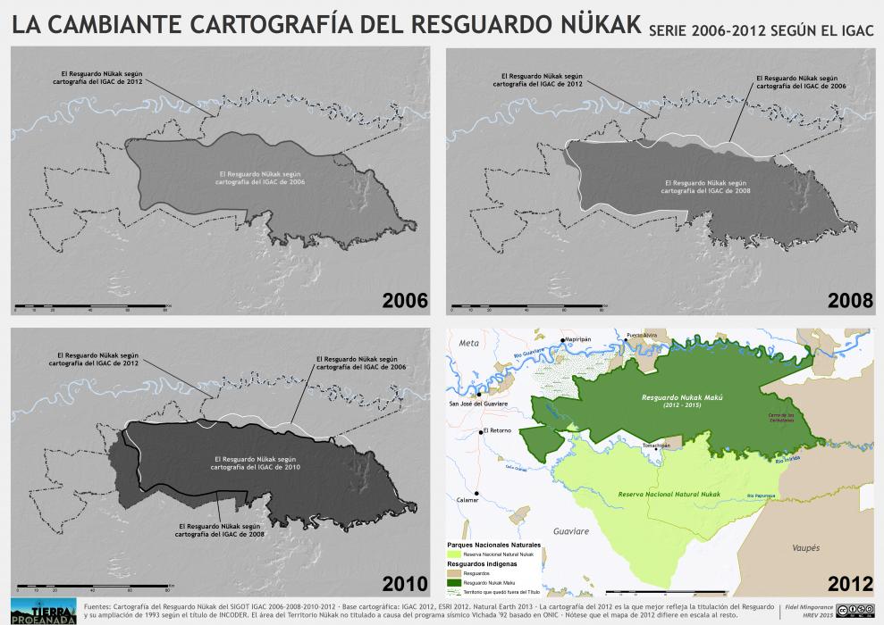 evolución del resguardo Nukak según la cartografía del IGAC 2006-2012