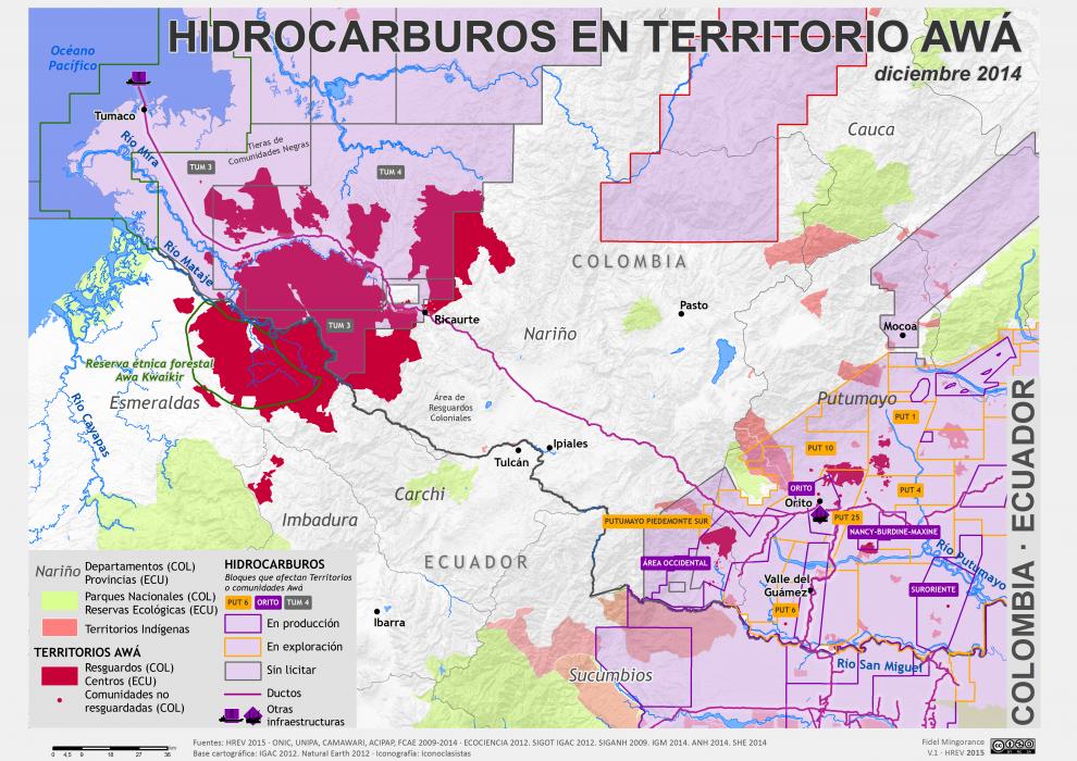 Mapa de Hidrocarburos en Territorio Awá en Colombia y Ecuador en diciembre de 2014
