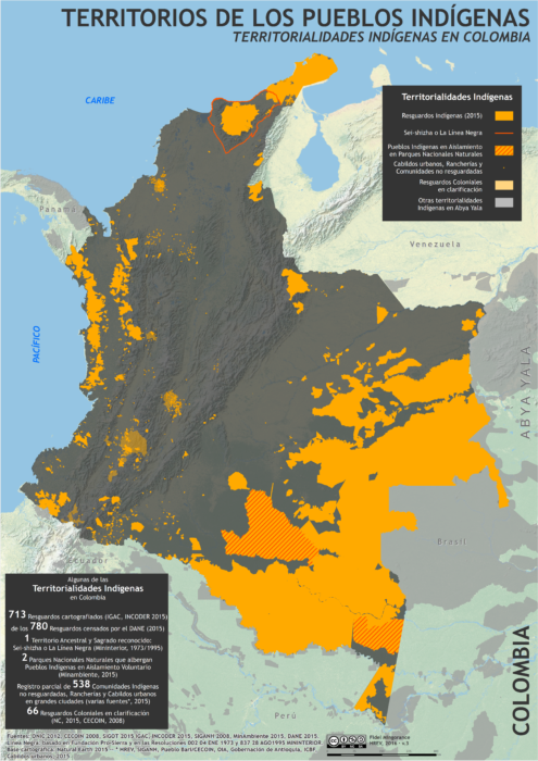 mapa de los territorios indígenas en Colombia en octubre de 2016