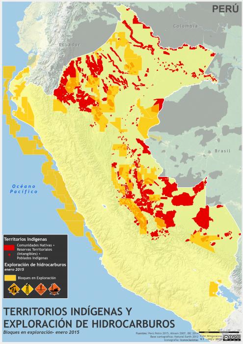 Mapa de los Territorios Indígenas y exploración petrolera en el Perú en enero de 2015