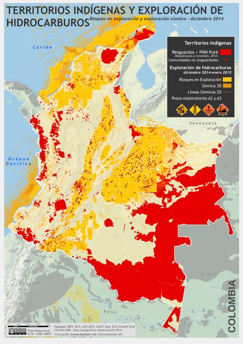 mapa de los Territorios Indígenas y exploración petrolera en Colombia a diciembre de 2014