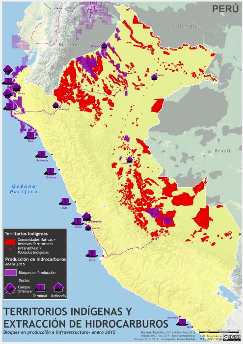 mapa de los Territorios Indígenas y extracción petrolera en el Perú en enero de 2015