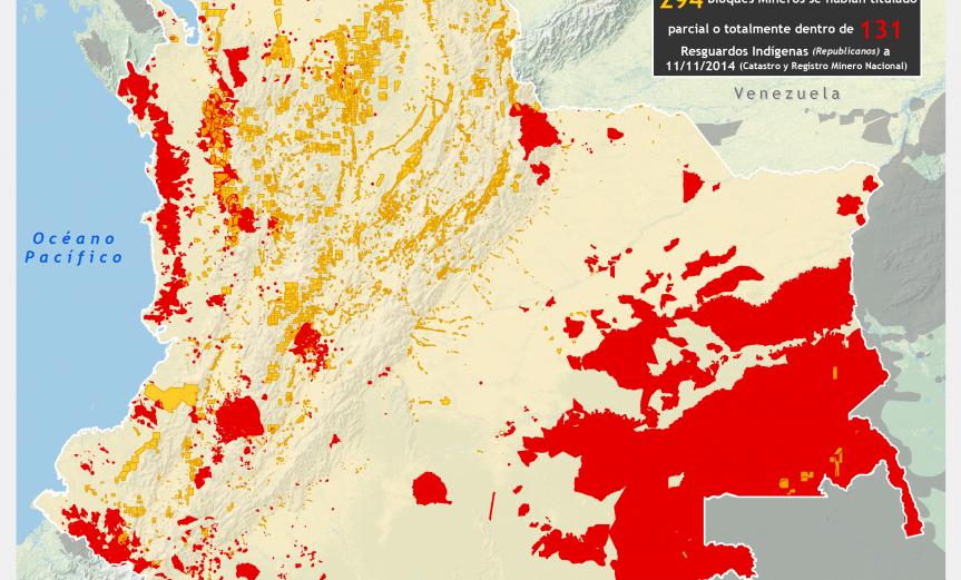 mapa de los Territorios Indígenas y títulos mineros 2014 (noviembre) en Colombia