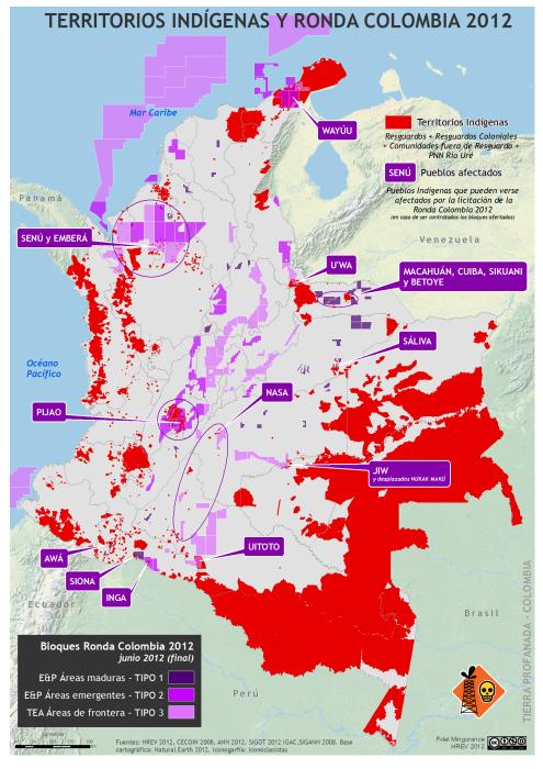mapa de Territorios Indígenas y Ronda Colombia 2012
