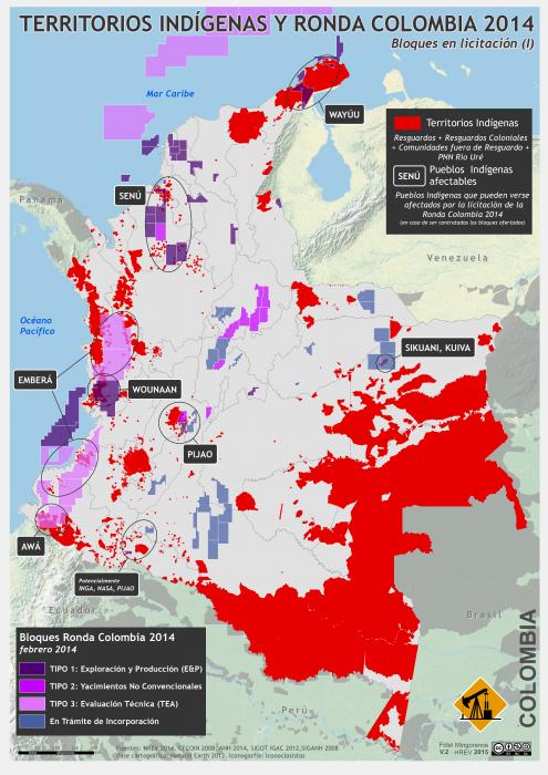 mapa de la ronda colombia 2014 y territorios indígenas afectabless