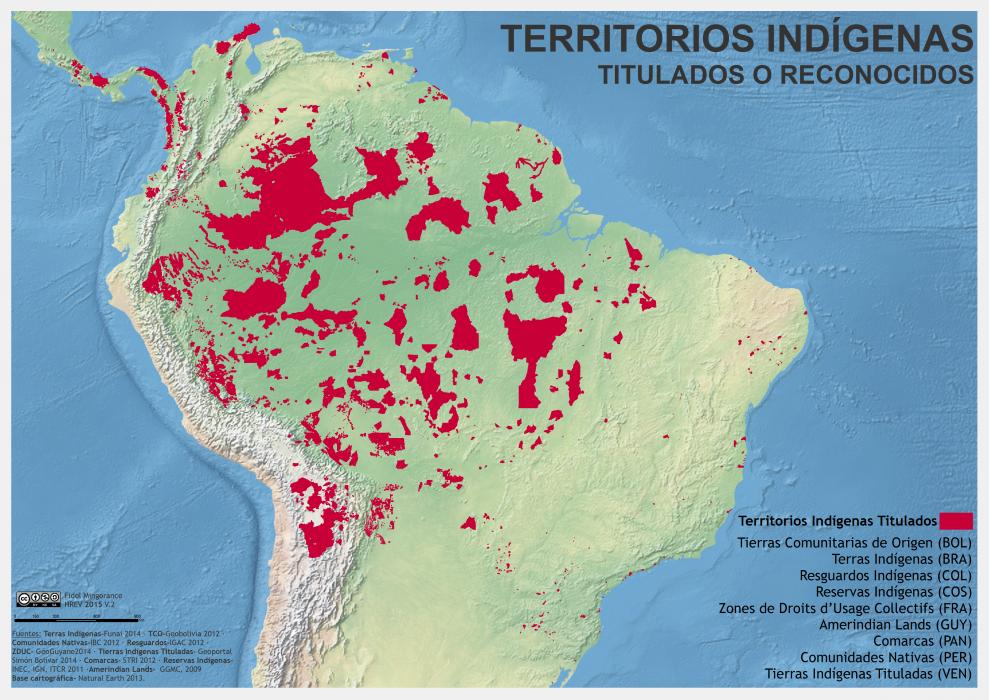 mapa de los territorios indígenas titulados o reconocidos