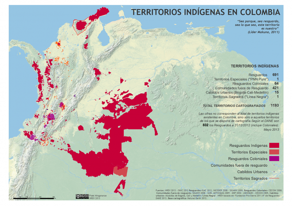mapa de los territorios indígenas en Colombia