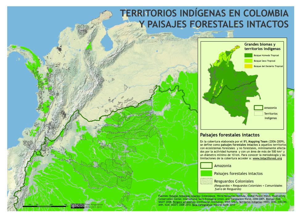 mapa de los Territorios Indígenas en Colombia y paisajes forestales intactos