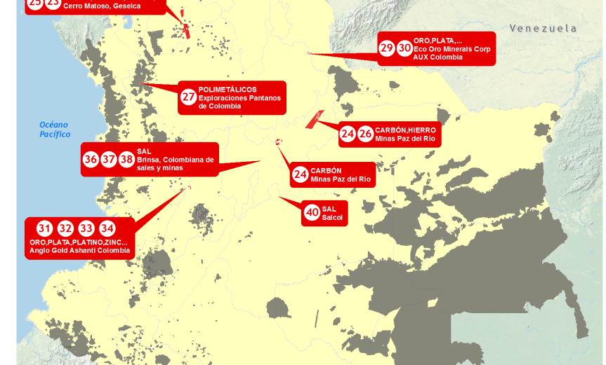mapa de los proyectos mineros de interés nacional en Colombia 2013 y los territorios indígenas