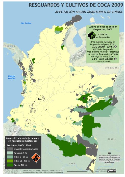 Mapa de cultivos de coca en Resguardos indígenas en Colombia 2009