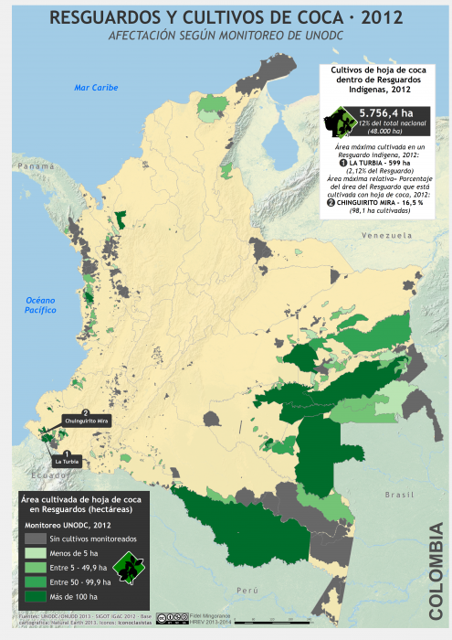 Mapa de cultivos de coca en Resguardos indígenas en Colombia 2012