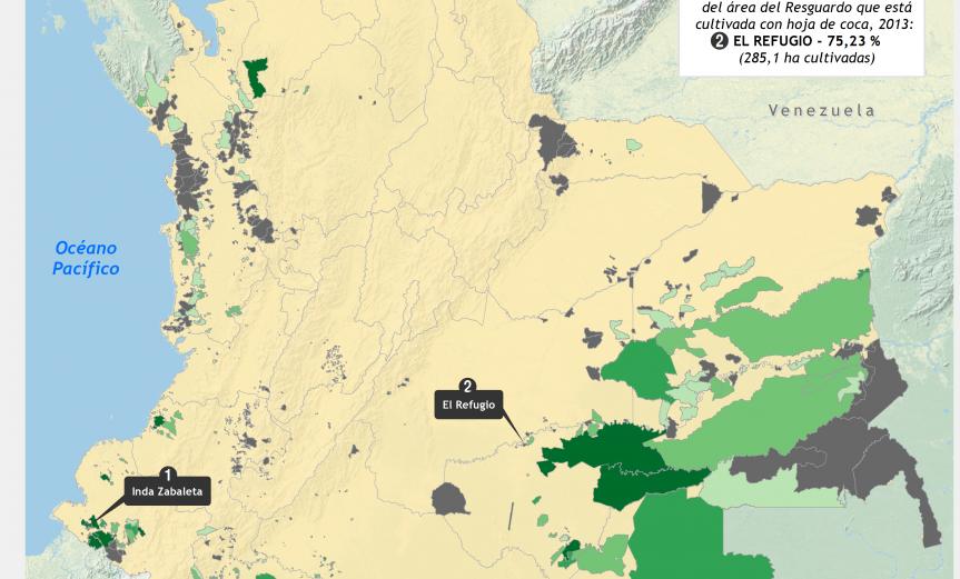 Mapa de cultivos de coca en Resguardos indígenas en Colombia 2013