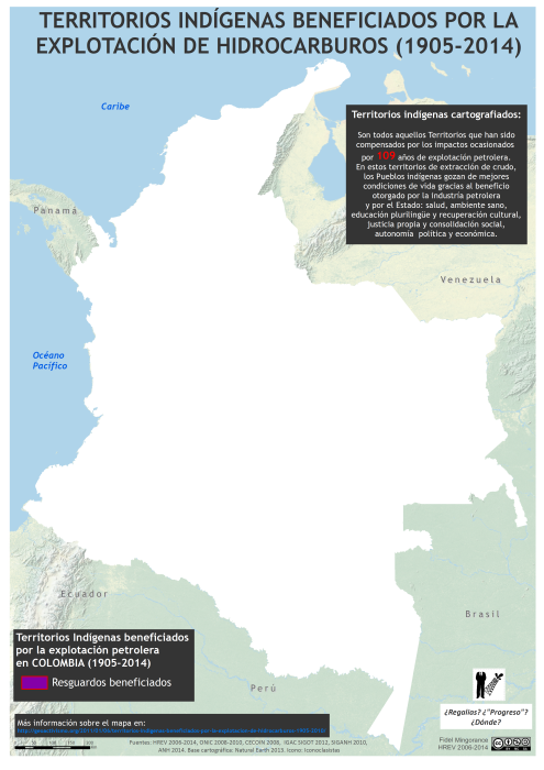 mapa de los territorios indígenas beneficiados por la industria petrolera (1905-2014)