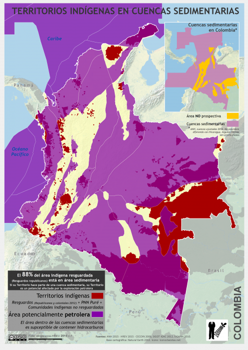 mapa de los territorios indígenas en cuencas sedimentarias en Colombia en 2015