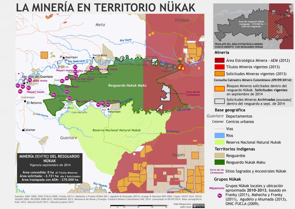 mapa de la minería en territorio nükak en colombia, septiembre de 2014