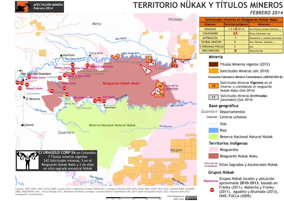 mapa del territorio nükak y titulaciones mineras, febrero de 2014