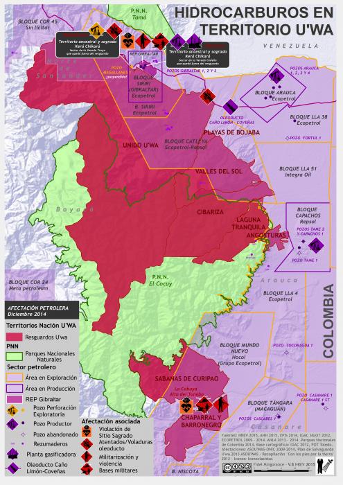 mapa del Territorio U'wa y áreas petroleras activas en diciembre de 2014