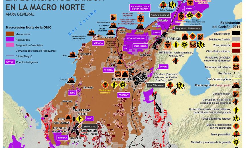 mapa del carbón y territorios indigenas en macro norte de onic