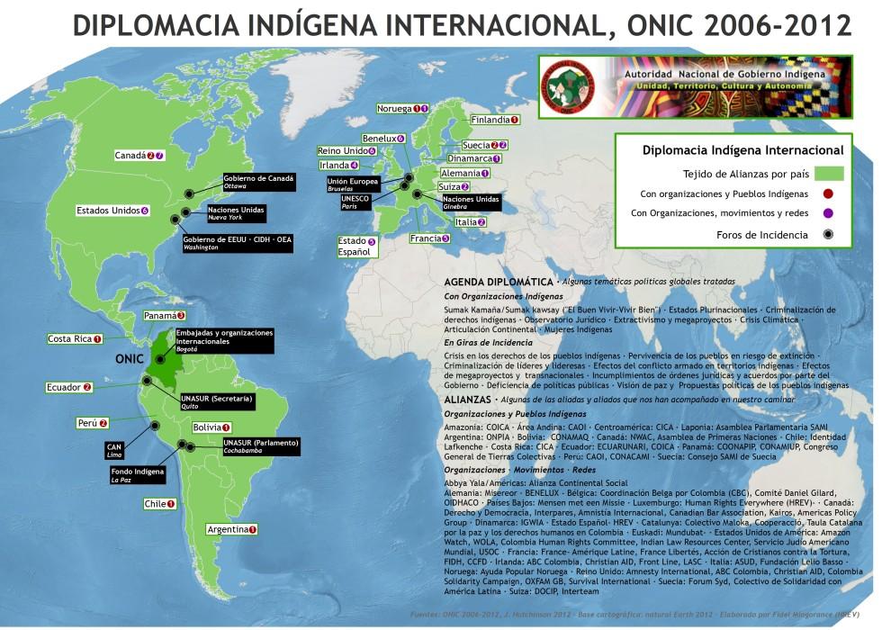 Mapa diplomacia indígena ONIC 2006-2012