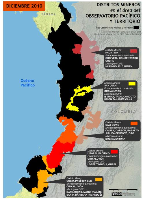 mapa de los distritos mineros en el pacífico colombiano en 2010