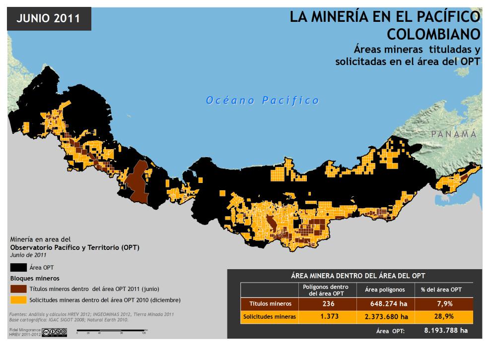 mapa de áreas mineras tituladas y solicitadas en el Pacífico colombiano en 2011