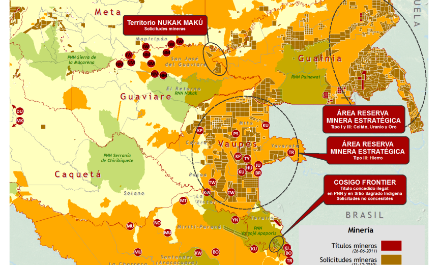 Mapa de minería y pueblos indígenas en riesgo extinción en Colombia