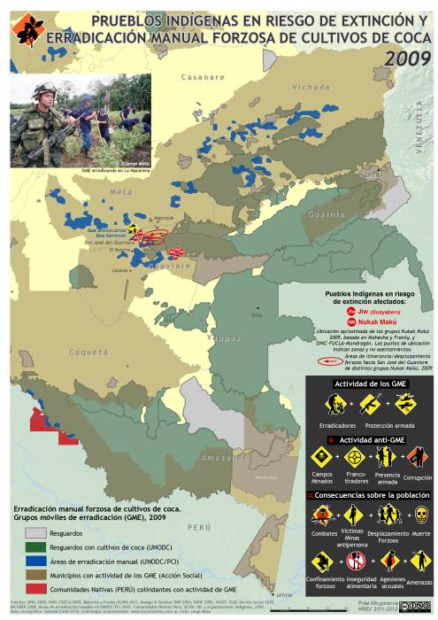 mapa de pueblos indígenas en riesgo de extinción y erradicación manual forzosa de coca en 2009