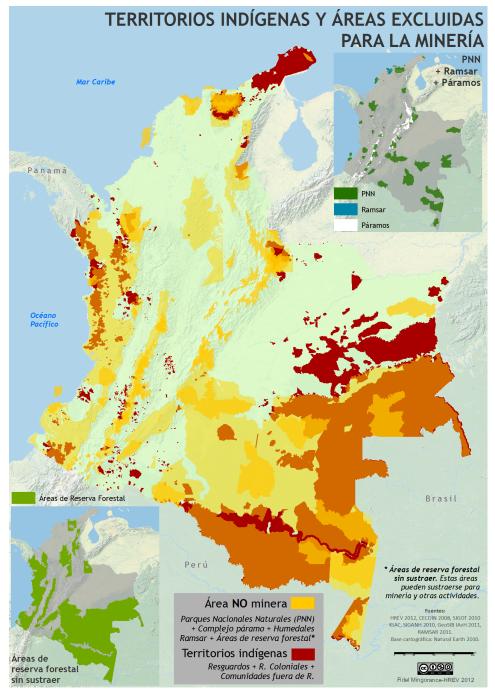 mapa de los territorios indígenas y áreas excluidas para la minería en Colombia