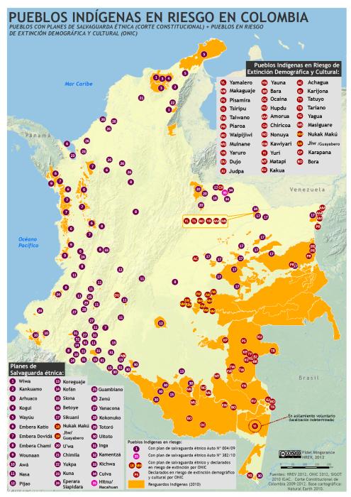 Mapa de Pueblos indigenas en riesgo en Colombia