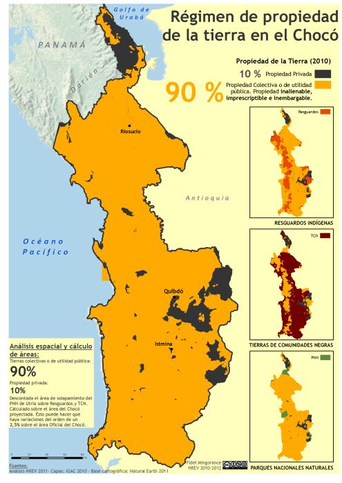 mapa del régimen de la propiedad de la tierra en el Chocó