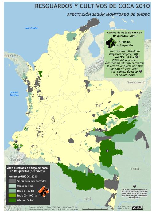 Mapa de cultivos de coca en Resguardos indígenas en Colombia 2011