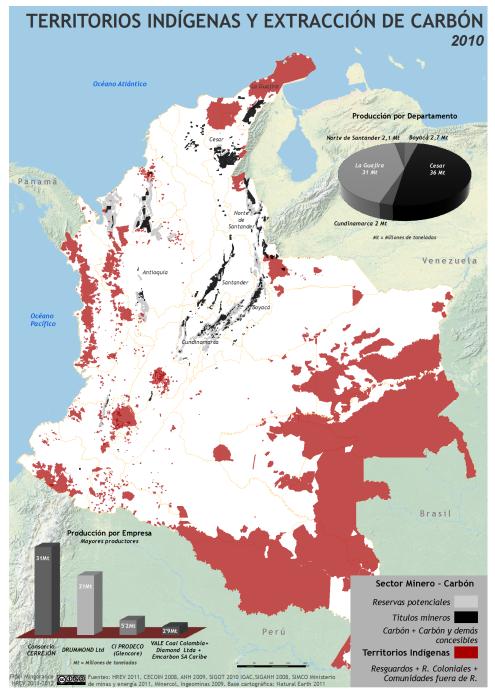mapa de territorios indígenas y extracción de carbón en Colombia en 2010